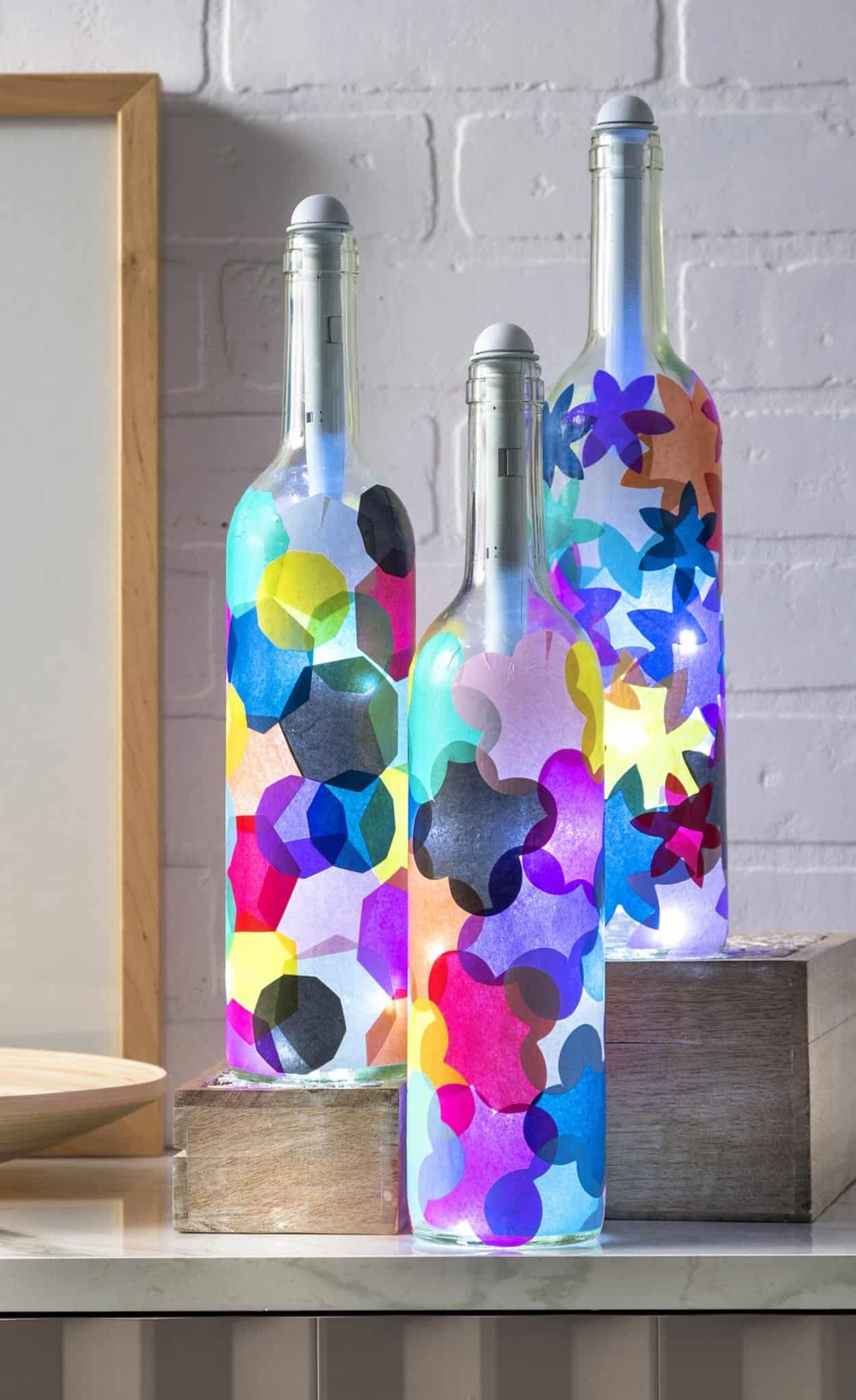Tissue paper decoupage bottle lamps
