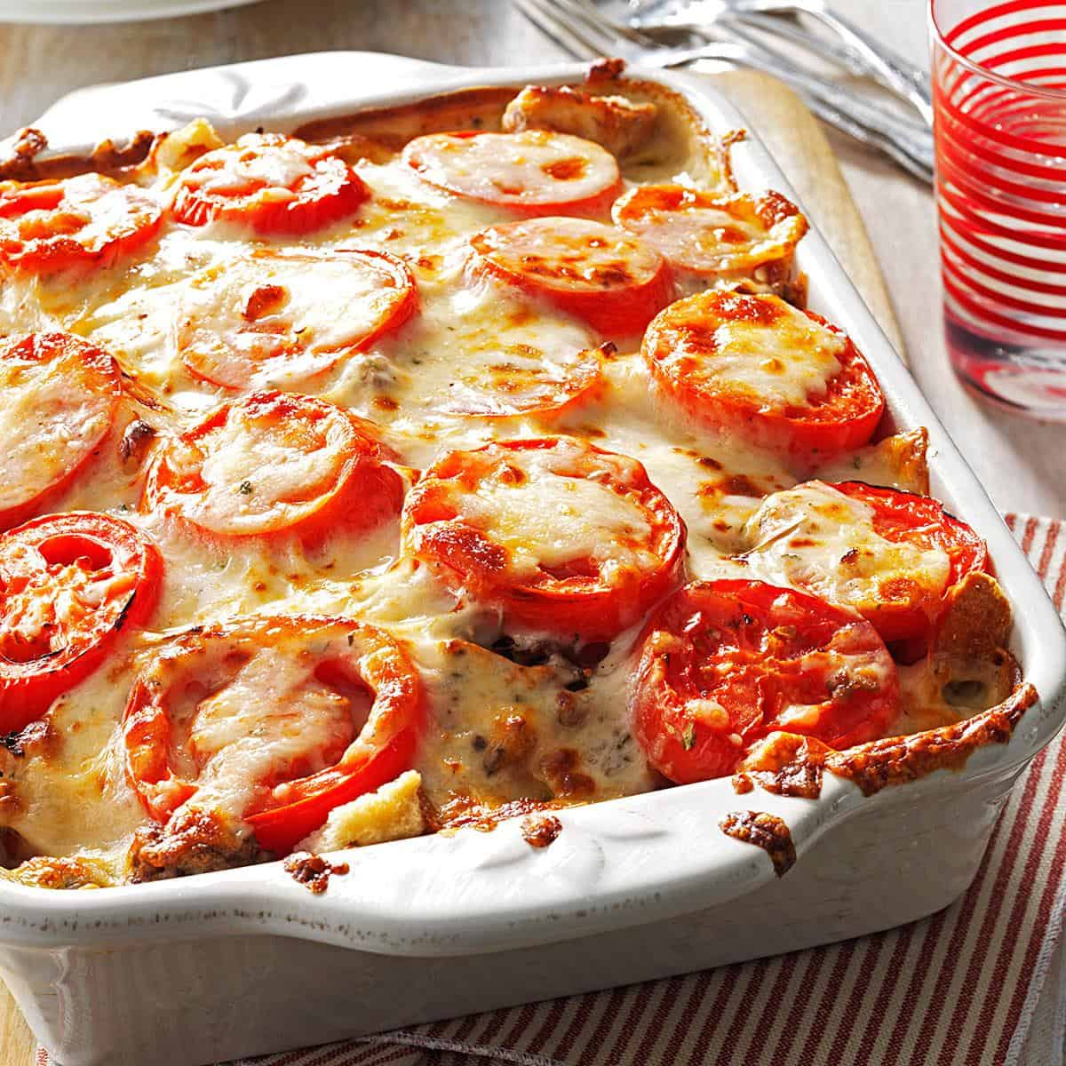 Tomato french bread lasagna
