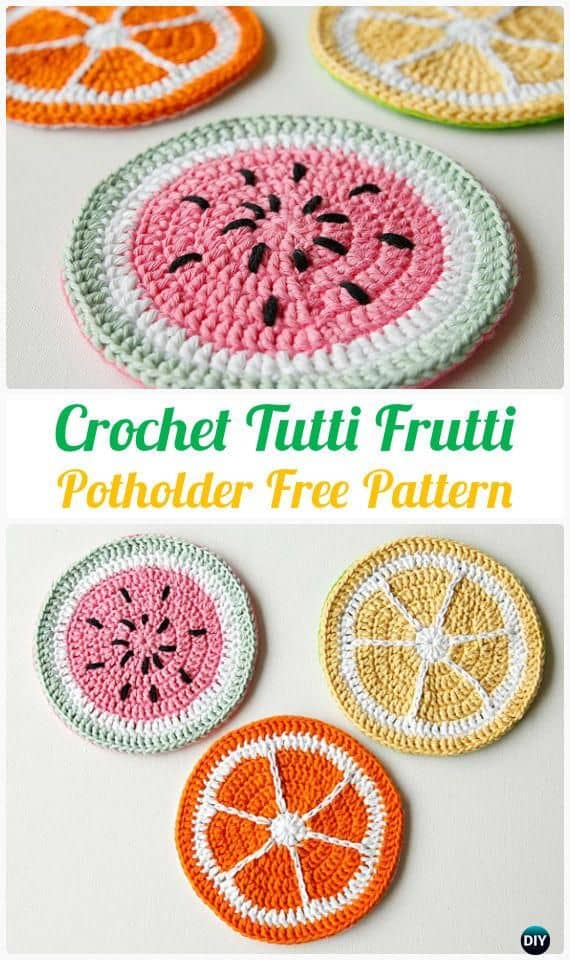 Tutti frutti crocheted pot holder