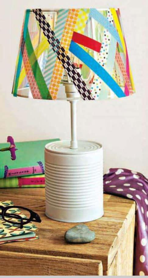 Upcycled tin can lamp