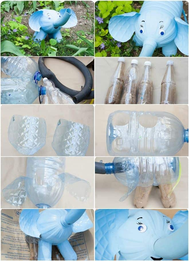 Water bottle elephant garden decor