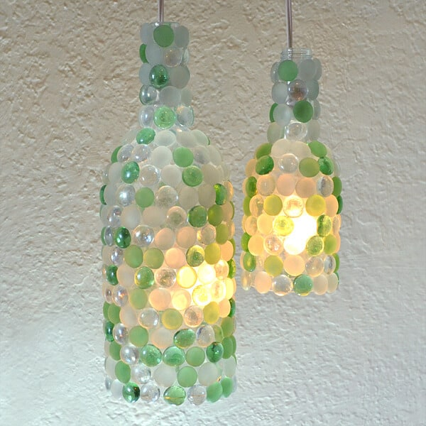 Wine bottle glass pebble pendant lights