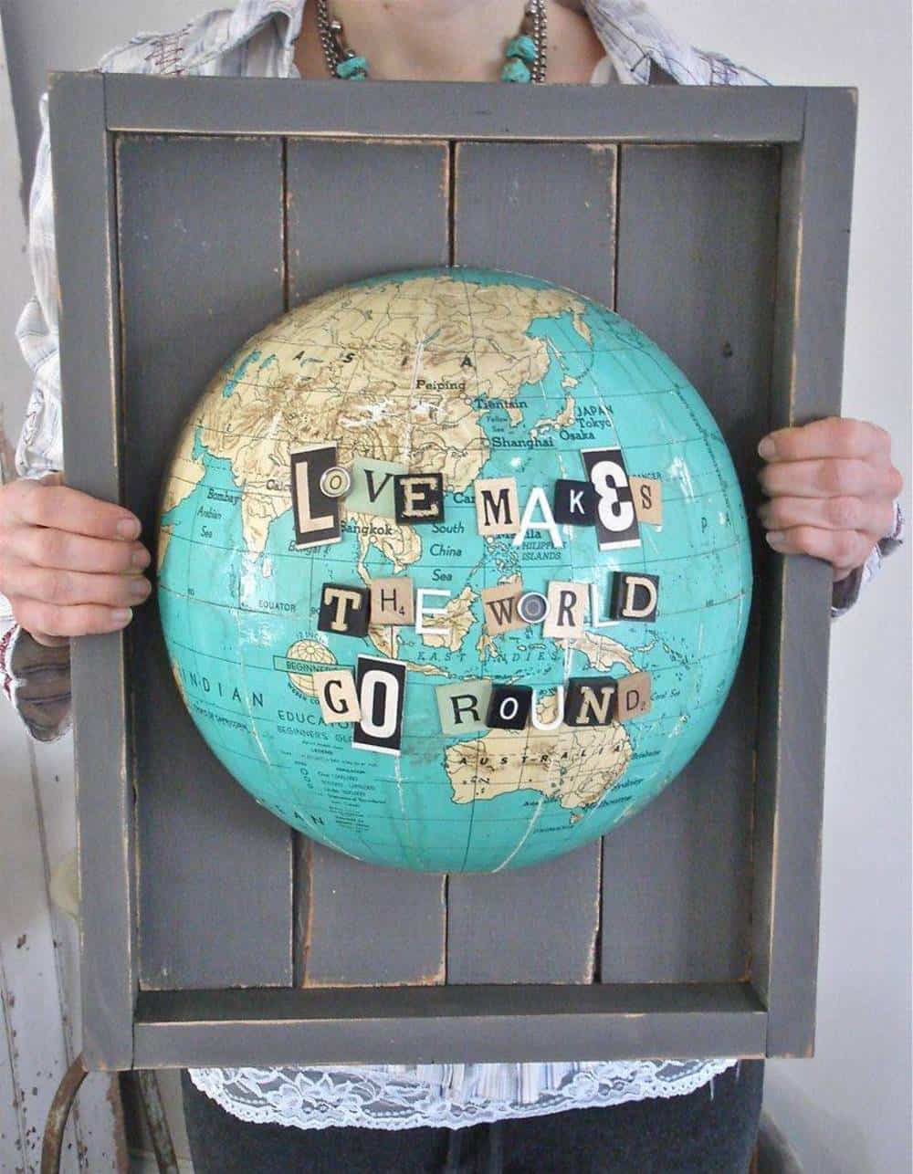 Wood mounted globe wall art