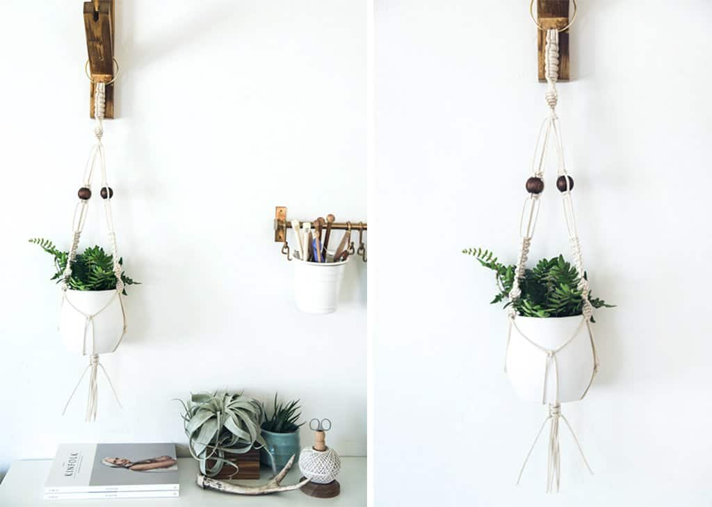 Wooden hook wall hanging planter