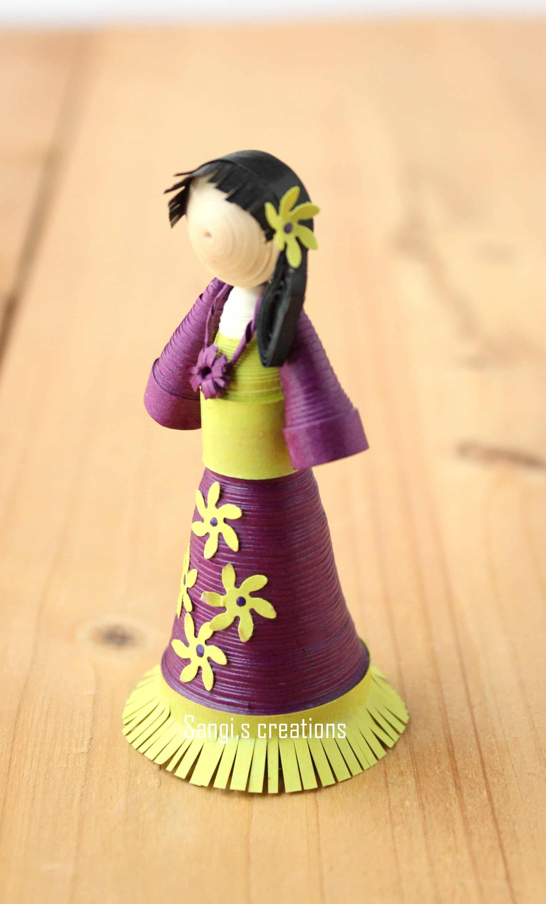 Wooden peg and paper quilling doll