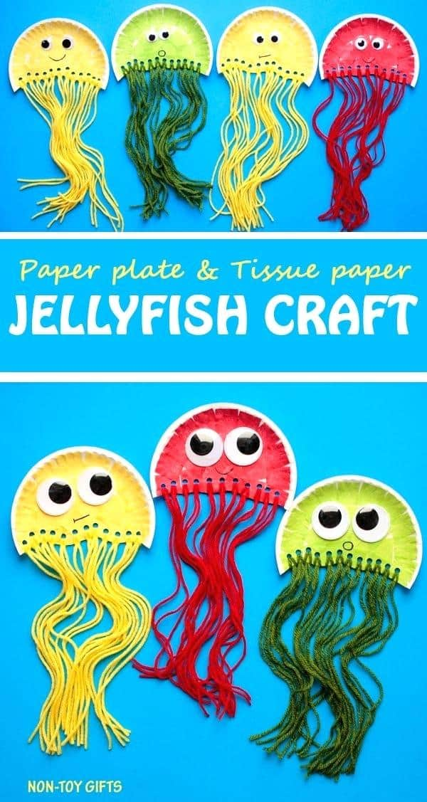 Yarn and paper plate jellyfish