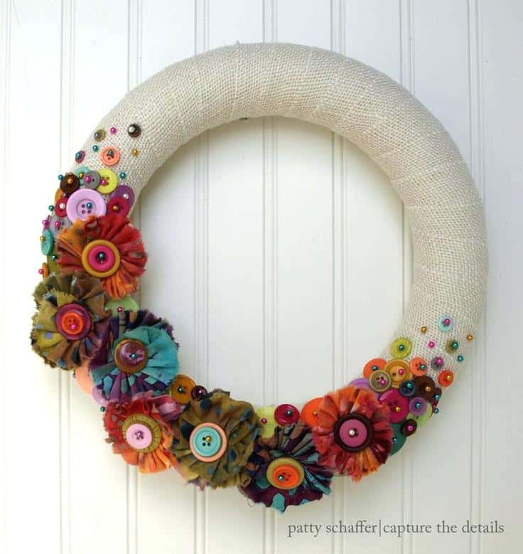 Yarn wrapped and button flower wreath