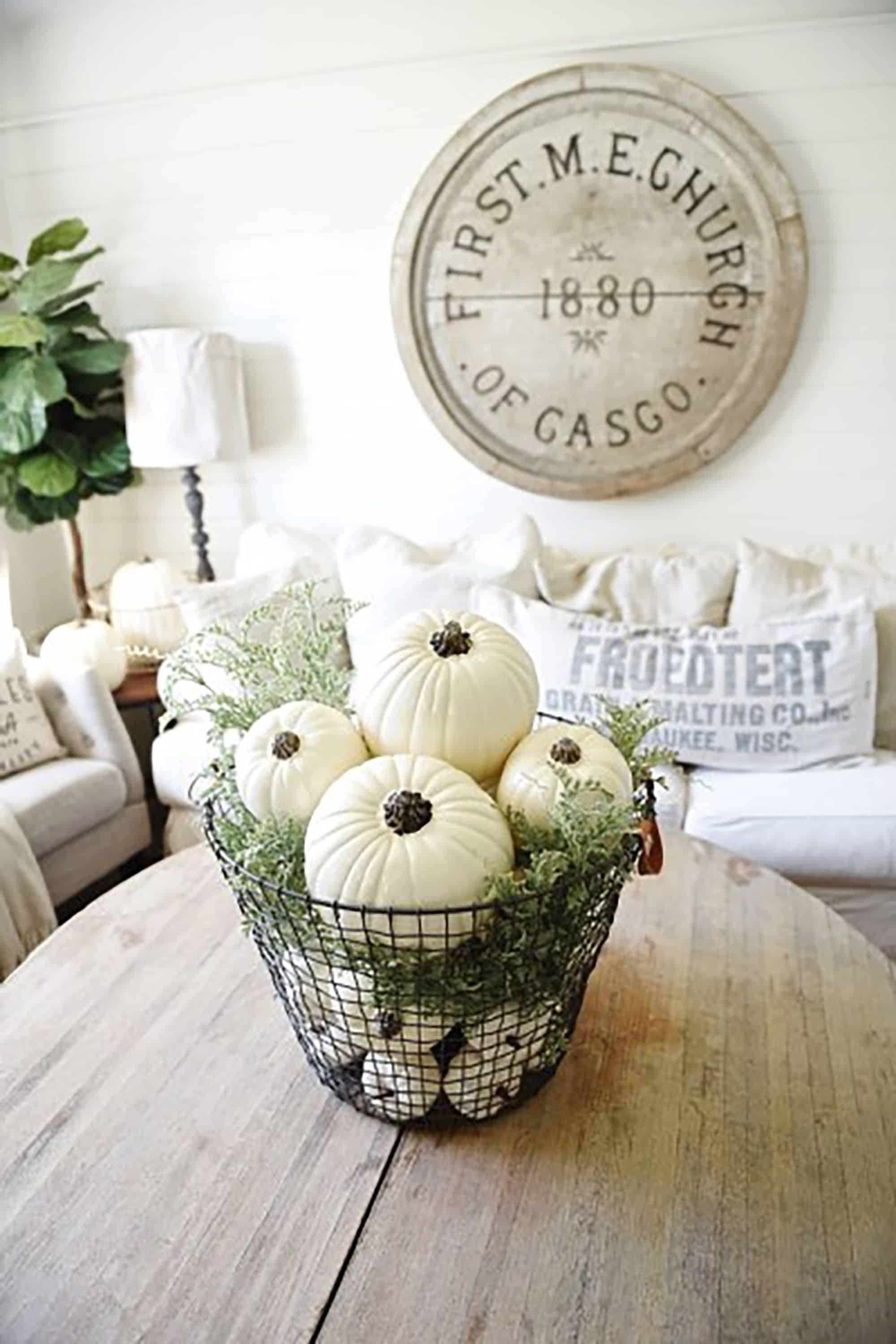 Basket of pumpkins centerpiece