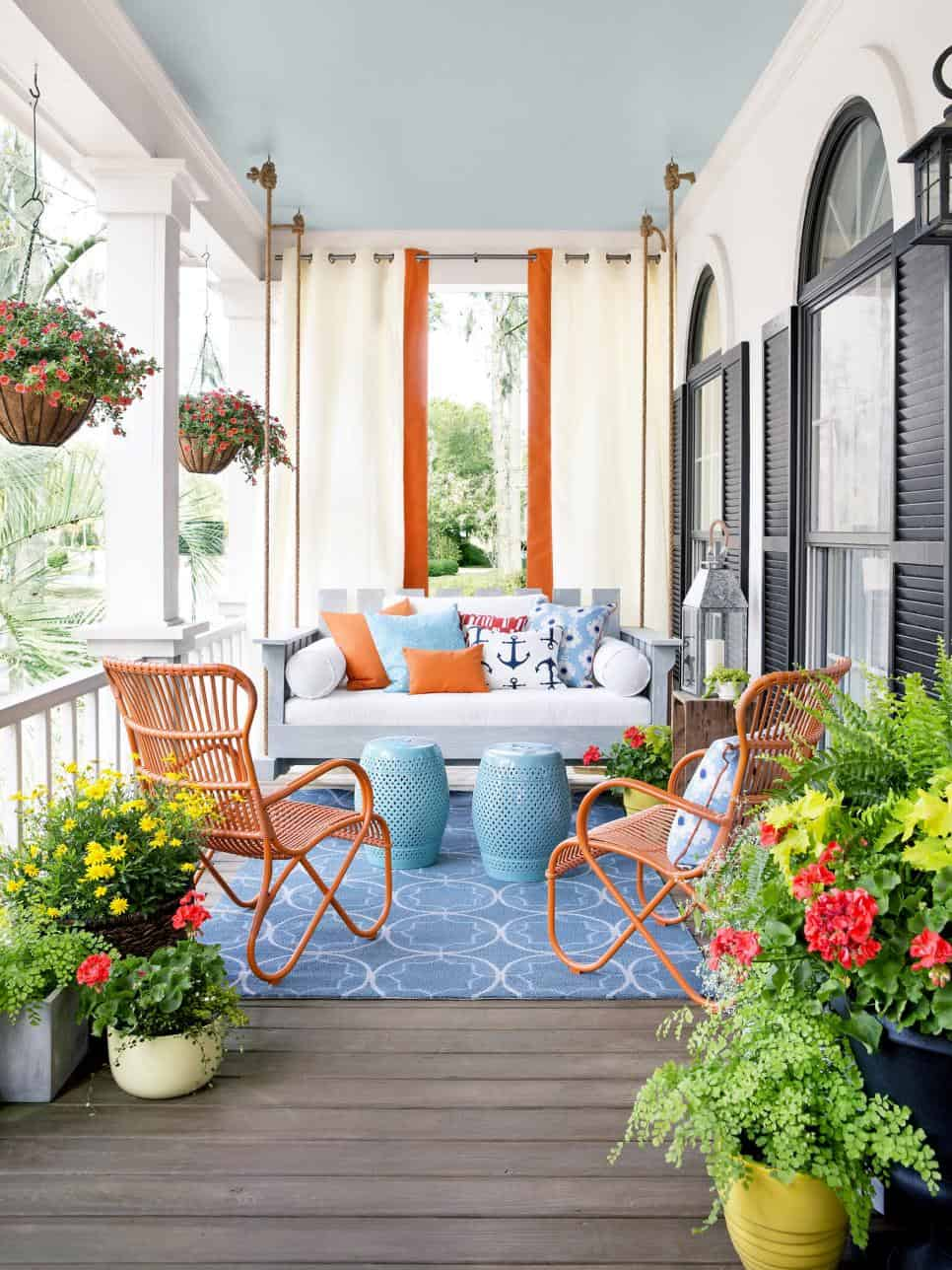 Boho inspired porch swing decor
