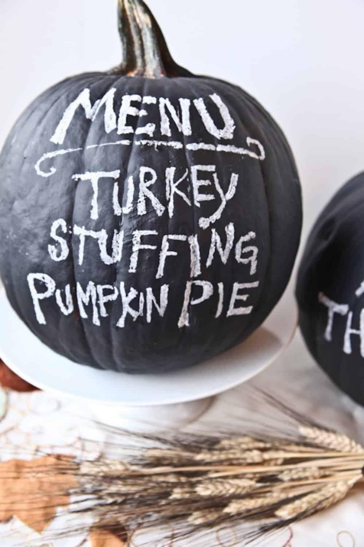 Chalkboard pumpkins diy