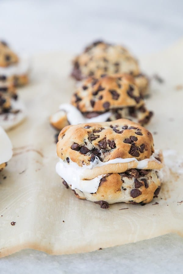 Chocolate chip biscuit smores