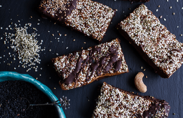 Dark chocolate crunch sesame bars