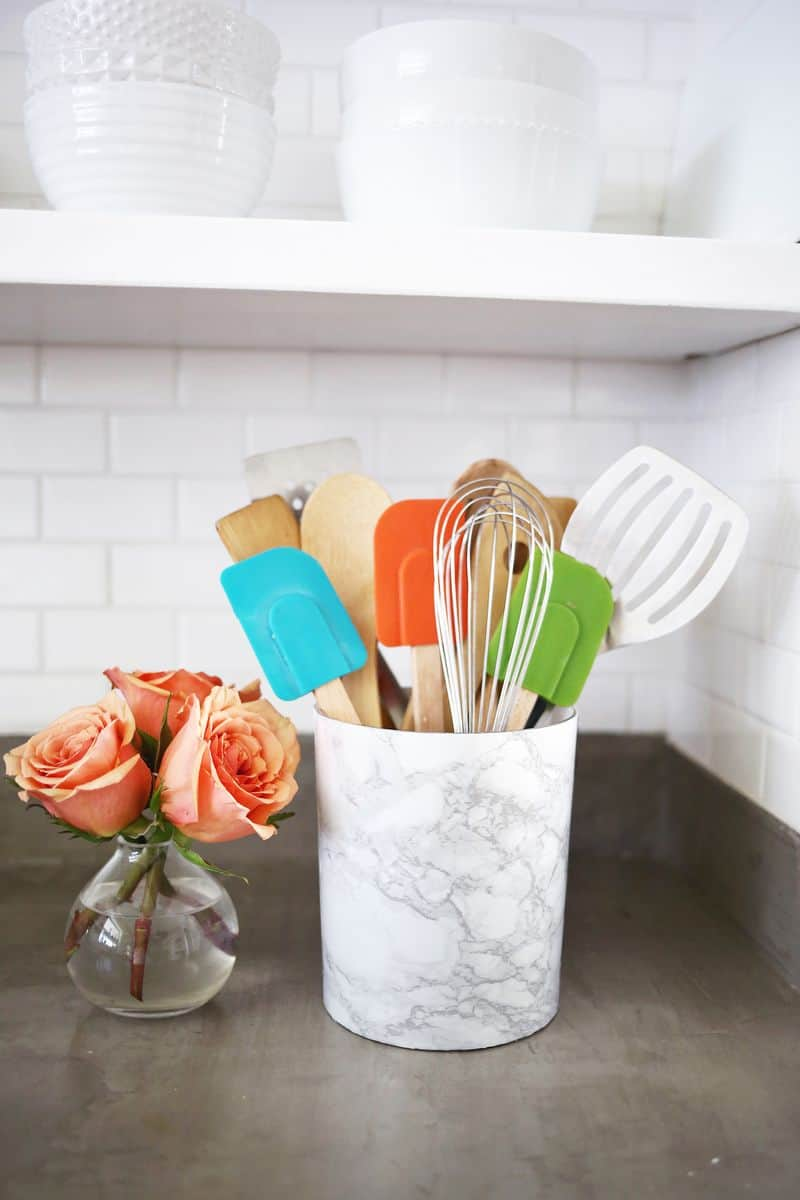 Diy marble utensil holder