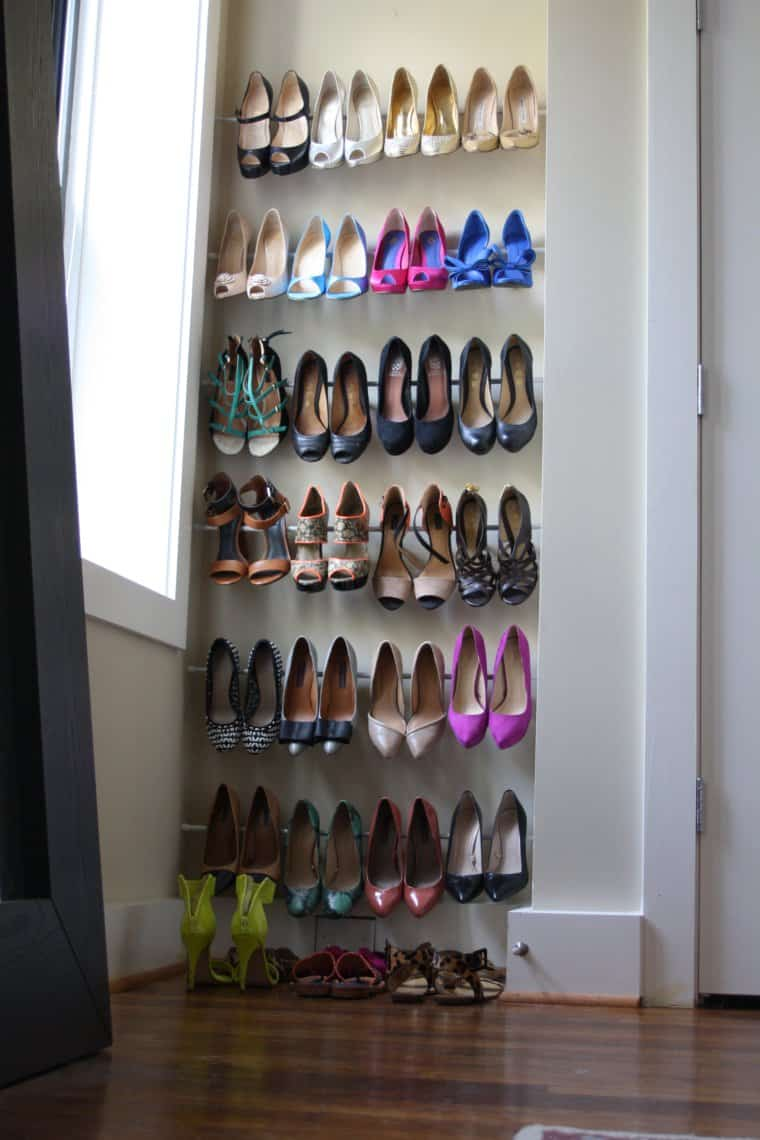 Diy tension rod shoe shelf