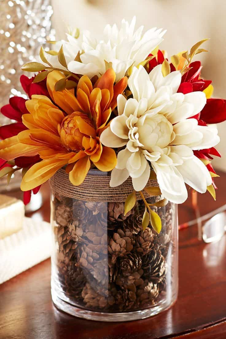 Fall flowers and acorns centerpiece