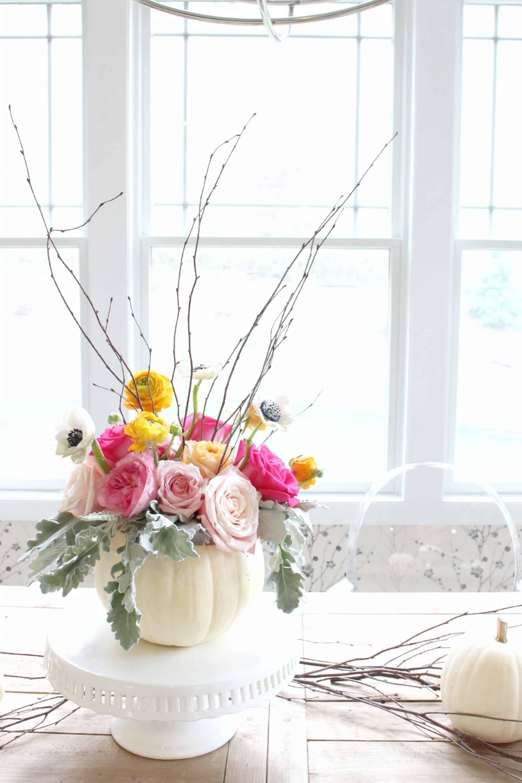 Feminine fall floral pumpkin vase