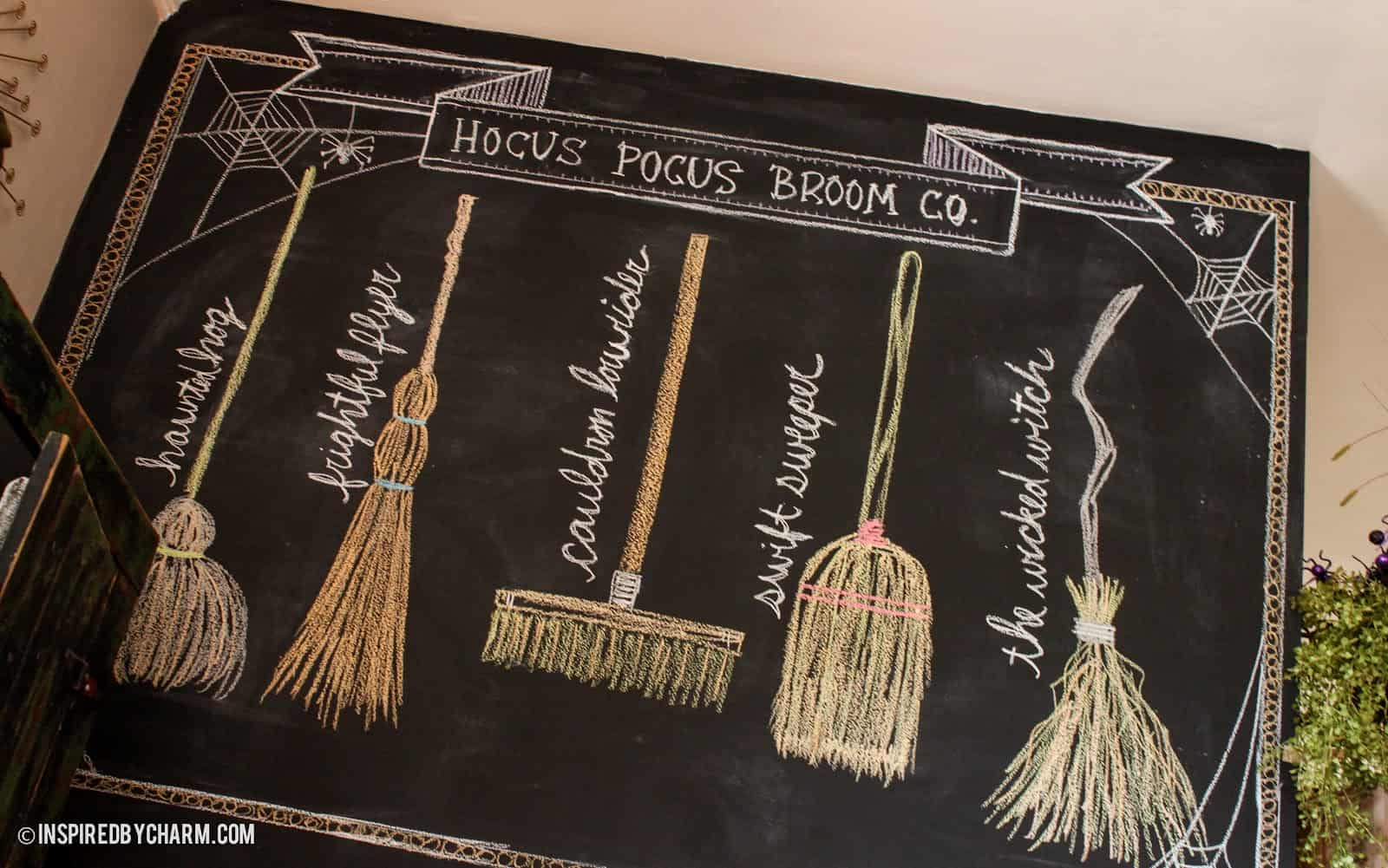 Hocus pocus broom lineup fall chalkboard idea