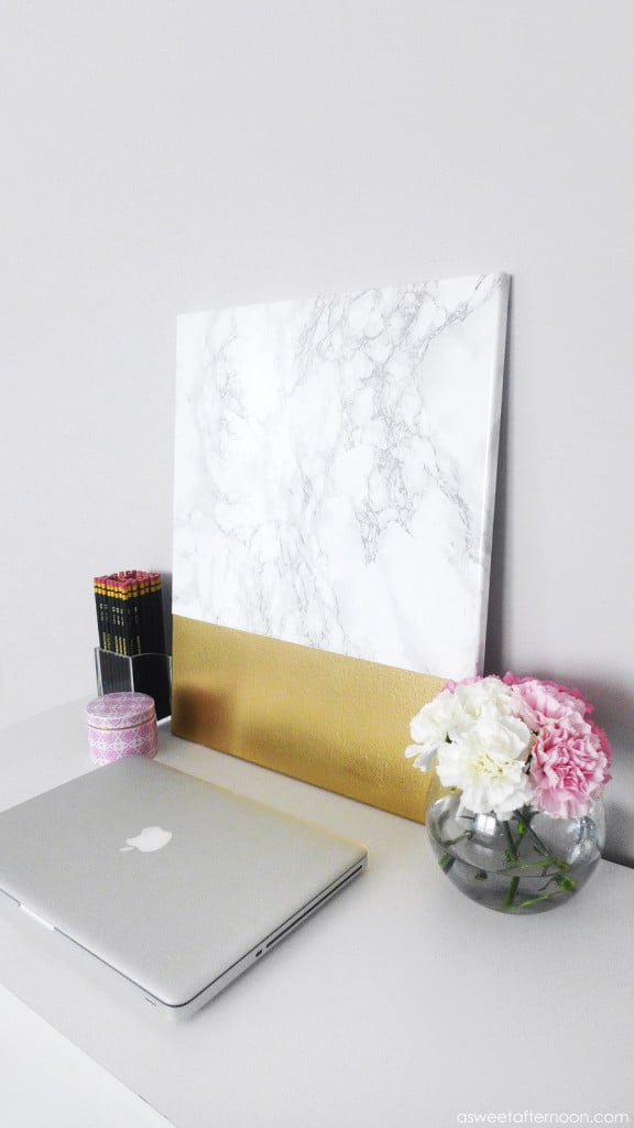 Marble and gold cnavas diy
