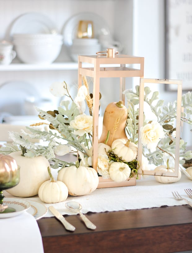 Neutral pumpkin and gourd table display