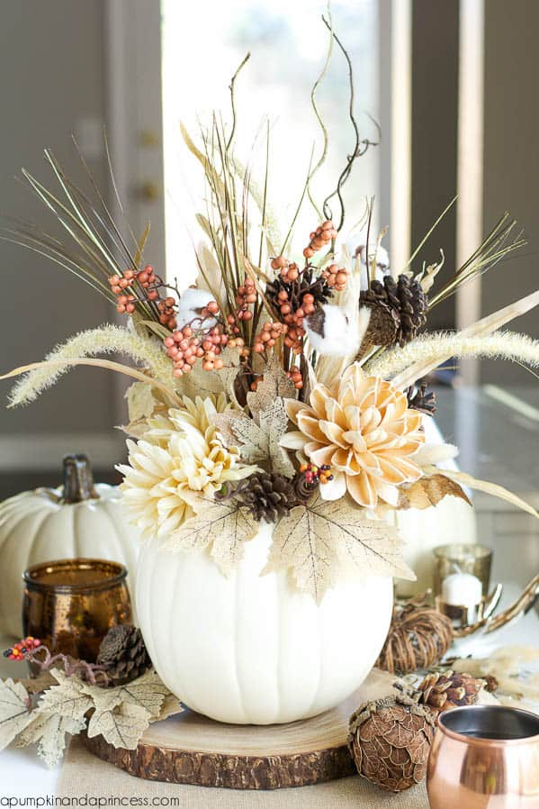 White stuffed pumpkin centerpiece