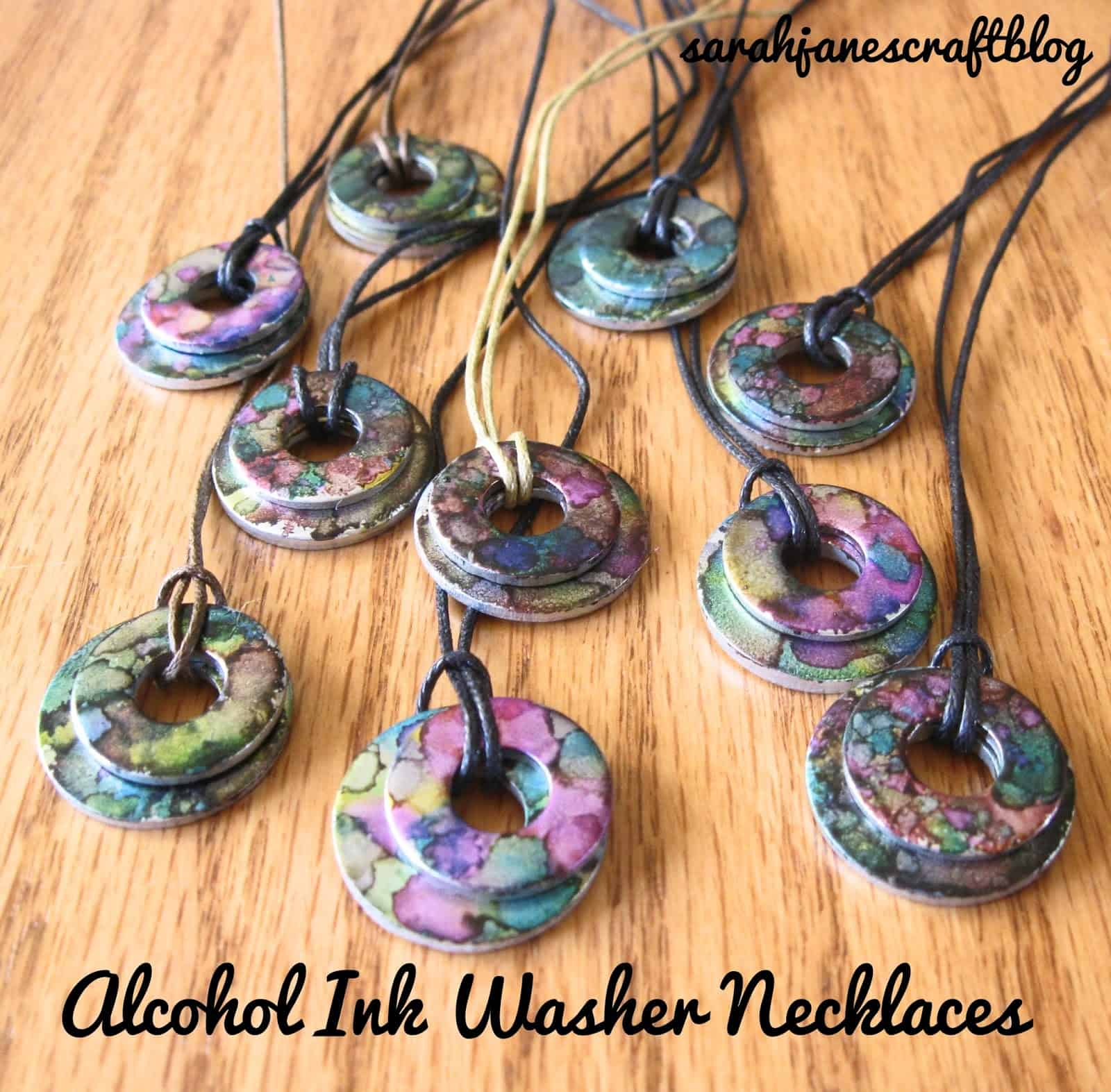 Alcohol ink washer necklace pendants