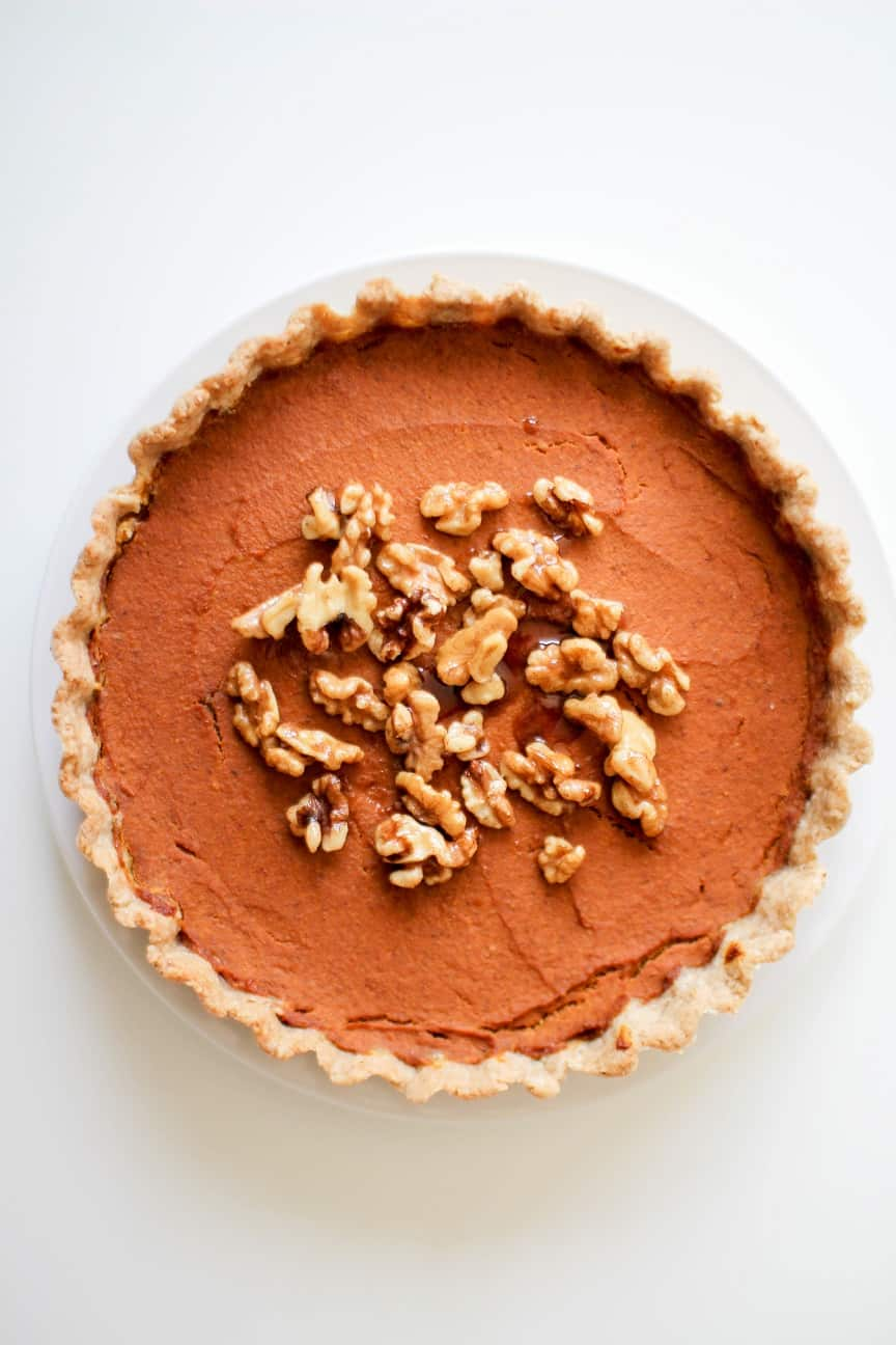 Baked vegan pumpkin pie with walnuts