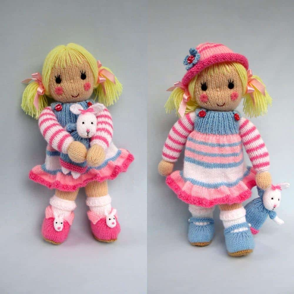 Betsy doll and her knitted bunny