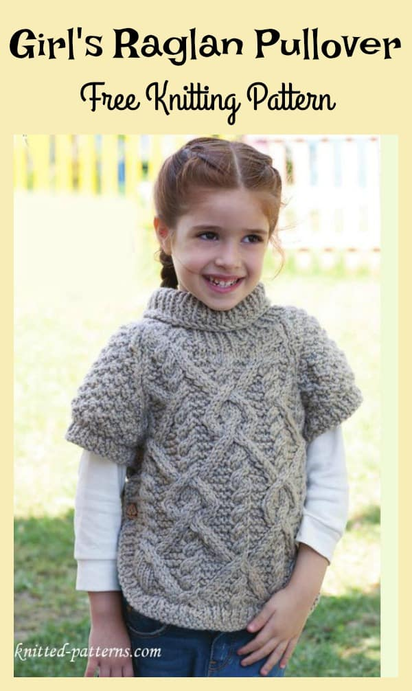 Cabled girl's raglan pullover