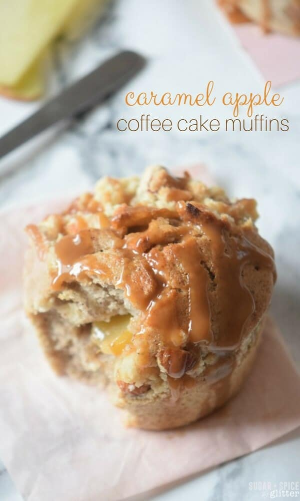 Caremel apple coffee cake muffins