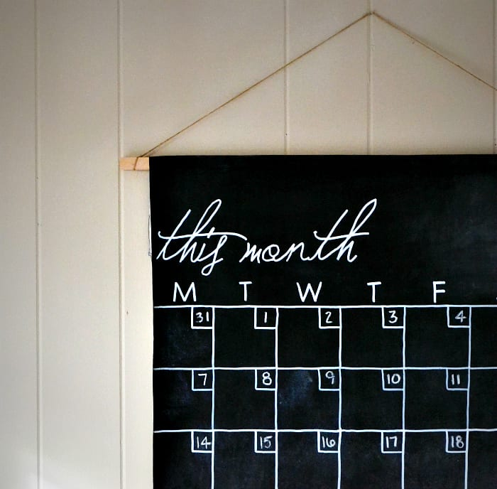 Chalkboard paint scroll calendar
