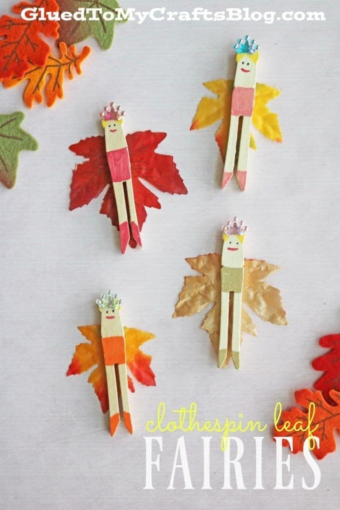 Clothespin leaf fairies kid craft | fairy, leaves and craft inside leaves crafts for kids