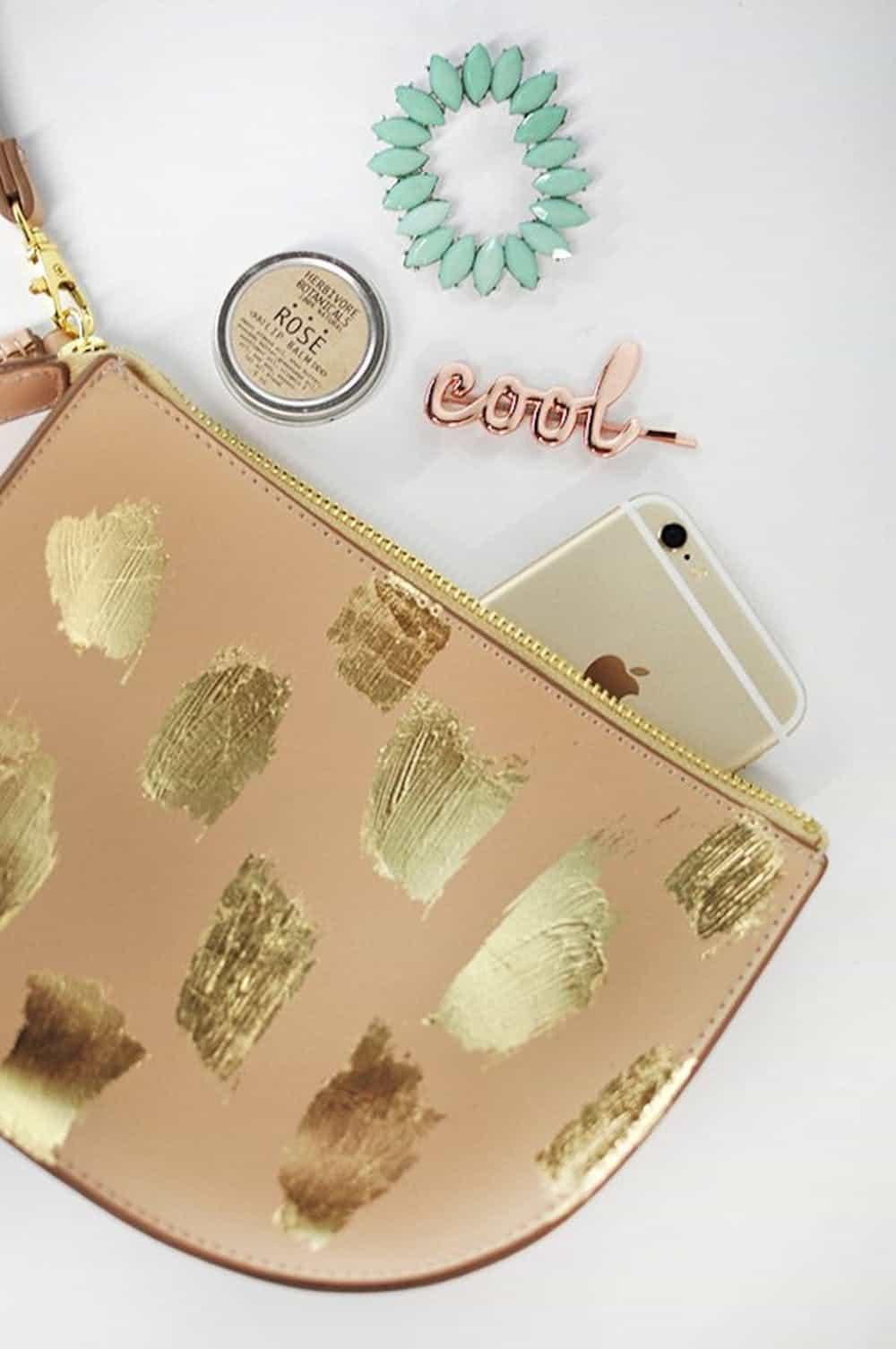 Diy gold brushstroke clutch