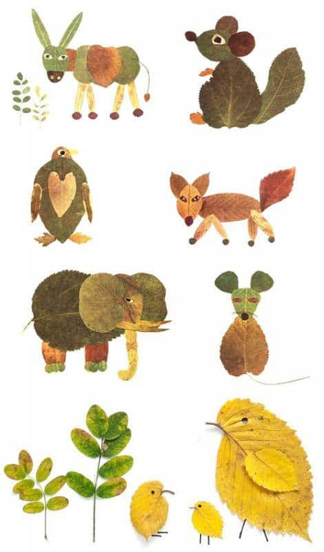 Diy animal friends leaf craft