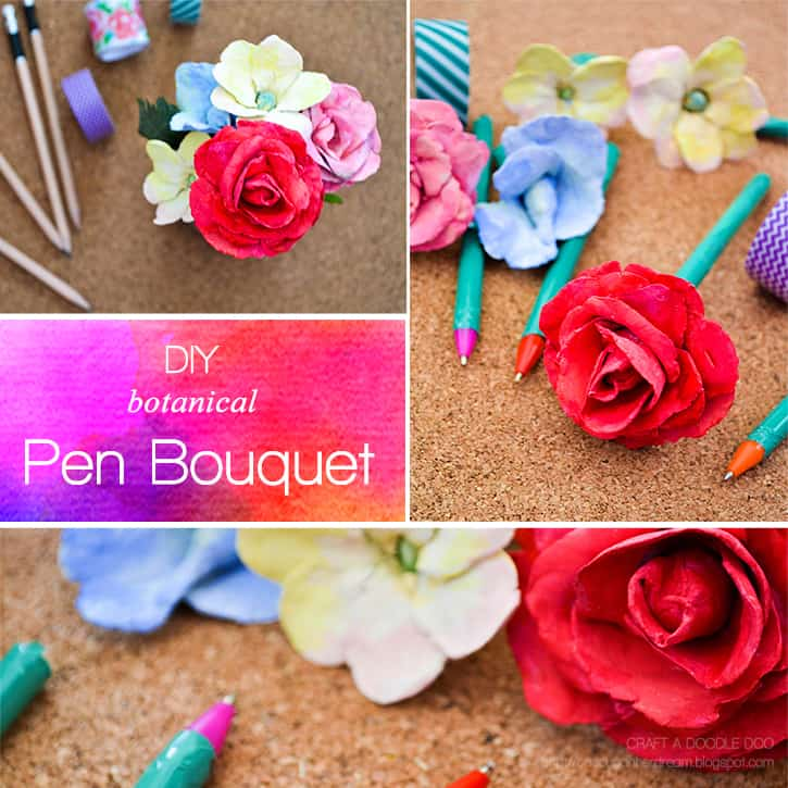 Diy botanical pen bouquet