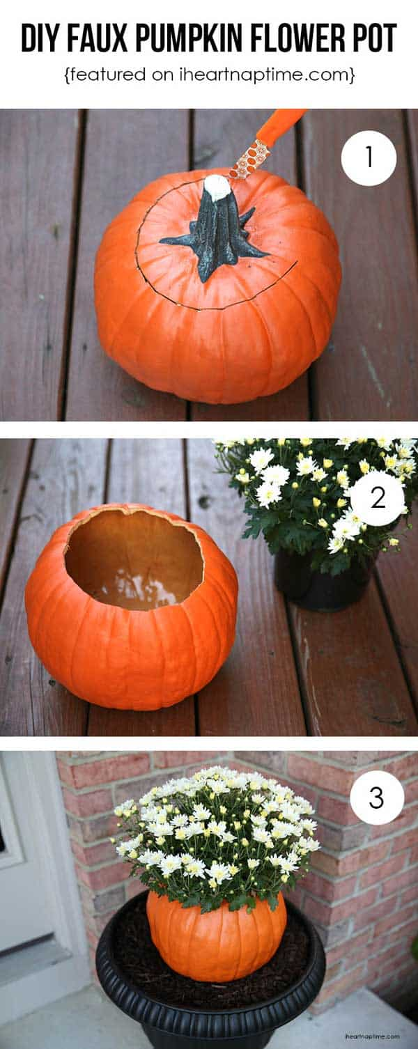 Diy faux pumpkin flower pot