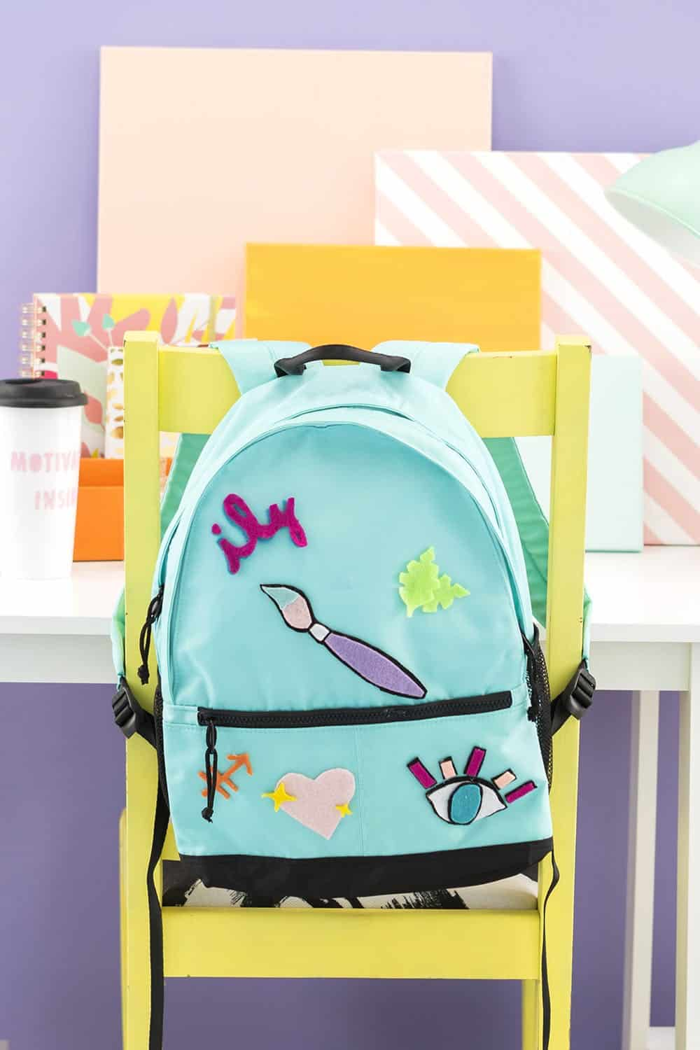 DIY felt patches backpack bbf2555a0d0ca
