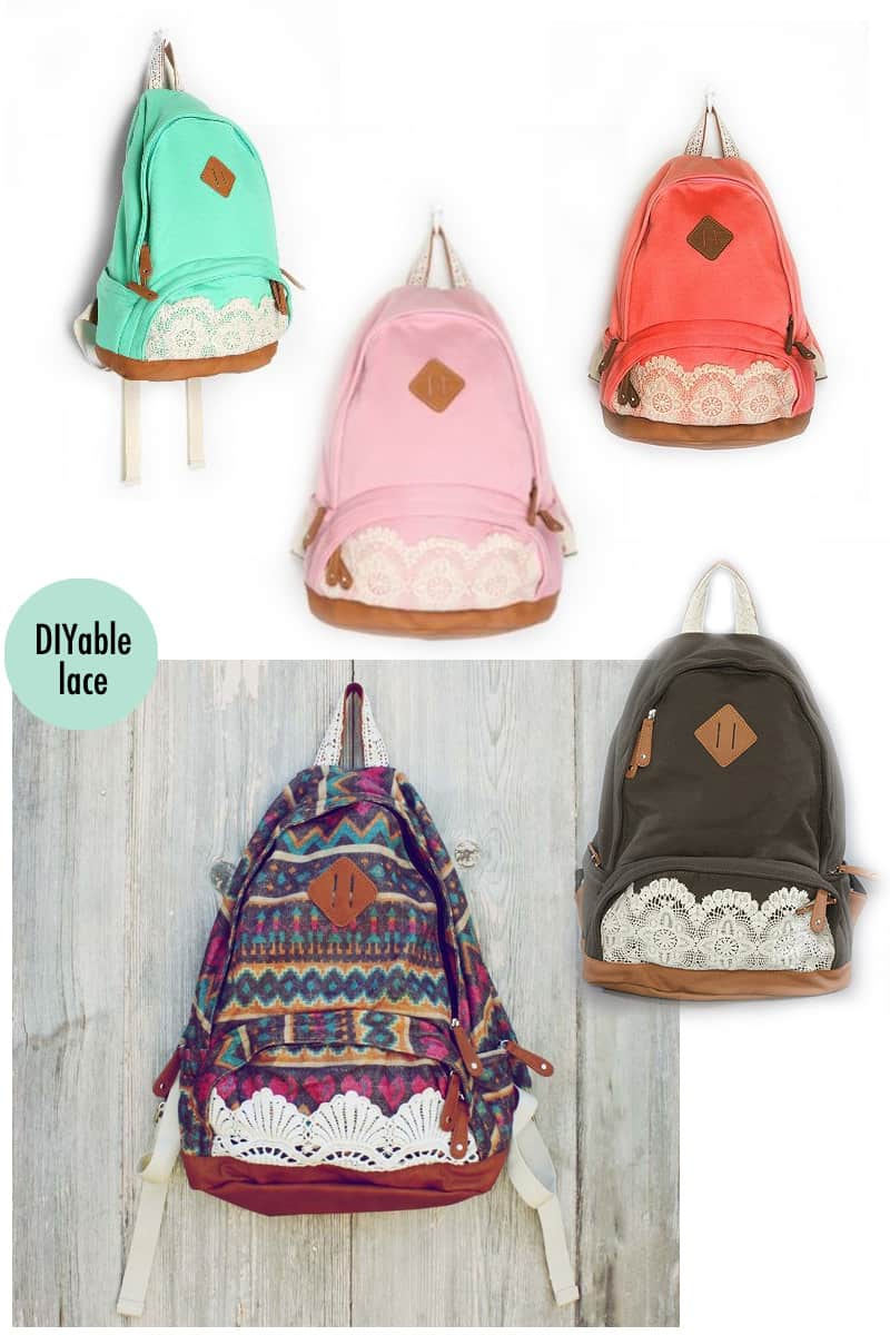 Diy lace pockets backpack