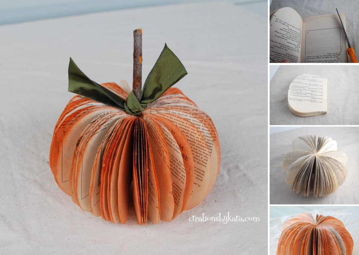 Diy paper book pumpkins