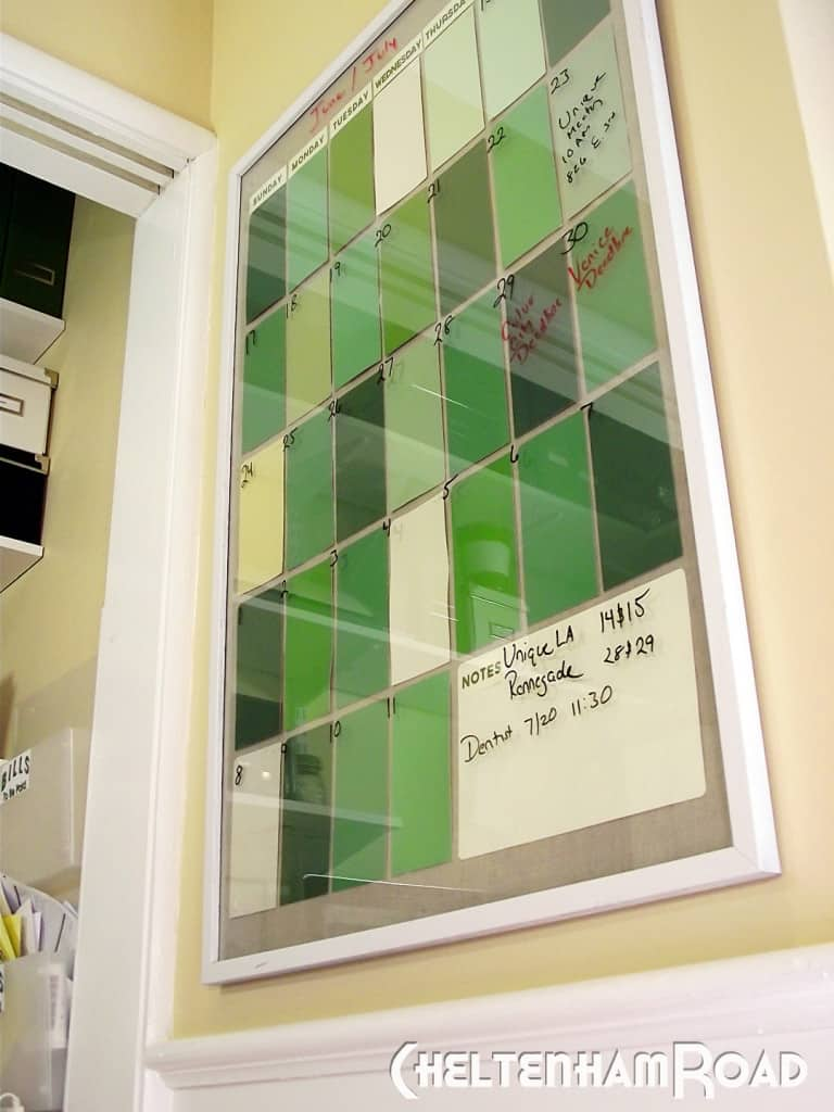 Dry erase photo frame and paint chip calendar
