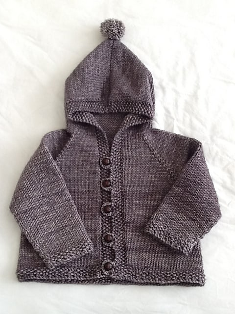 Easy baby hooded cardigan with a pom pom