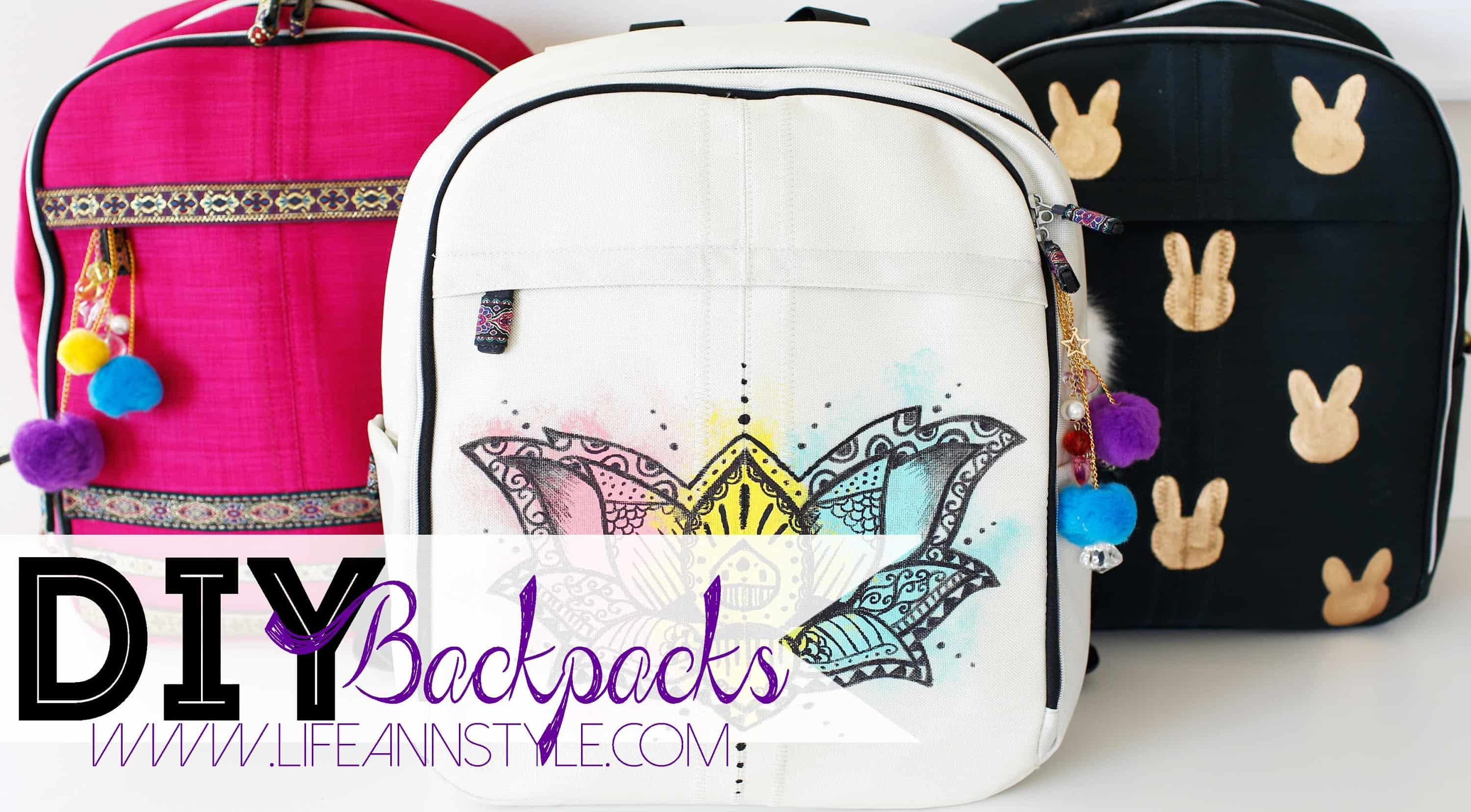 Easy hand painted and stencilled backpacks