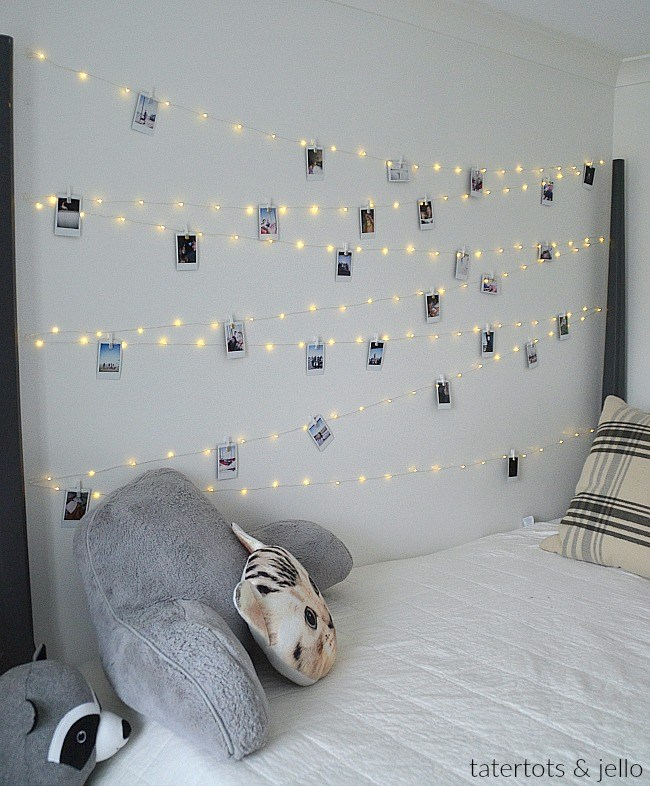 Fairy lights polaroid wall
