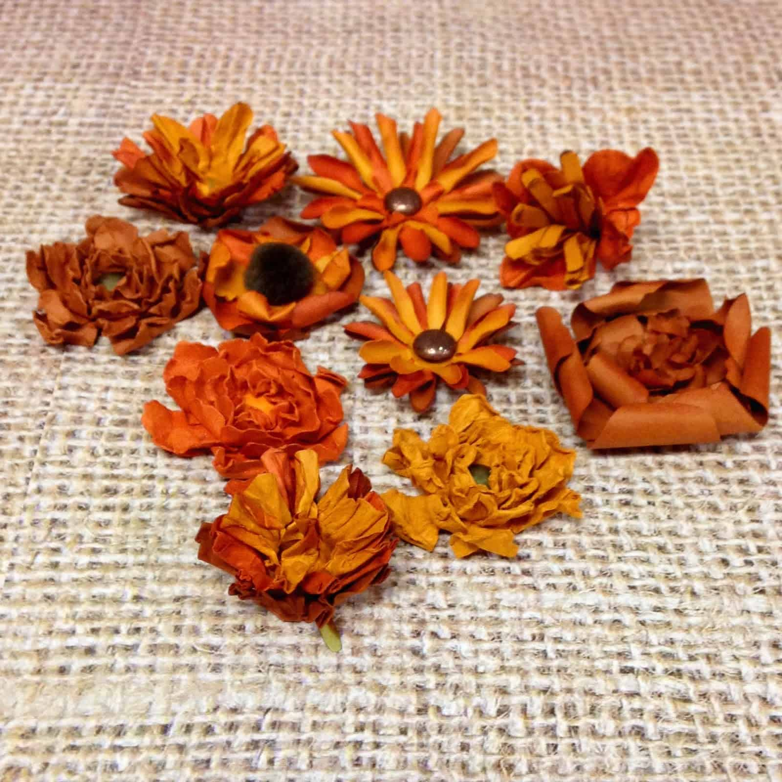 Fall coloured paper flowers