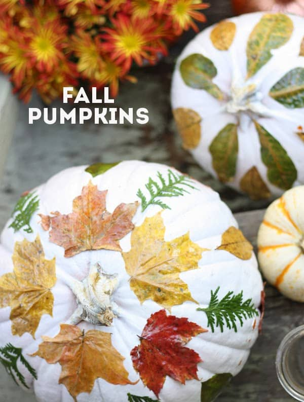 Fall leaf decoupage pumpkins