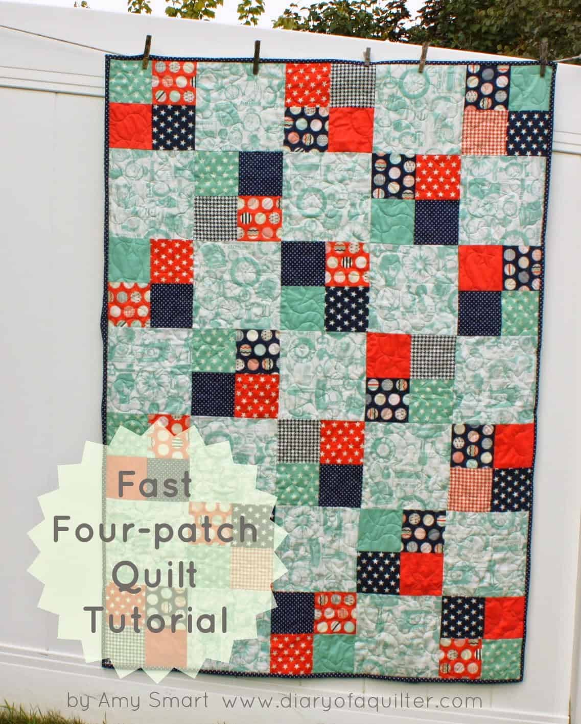 Fast four patch quilt