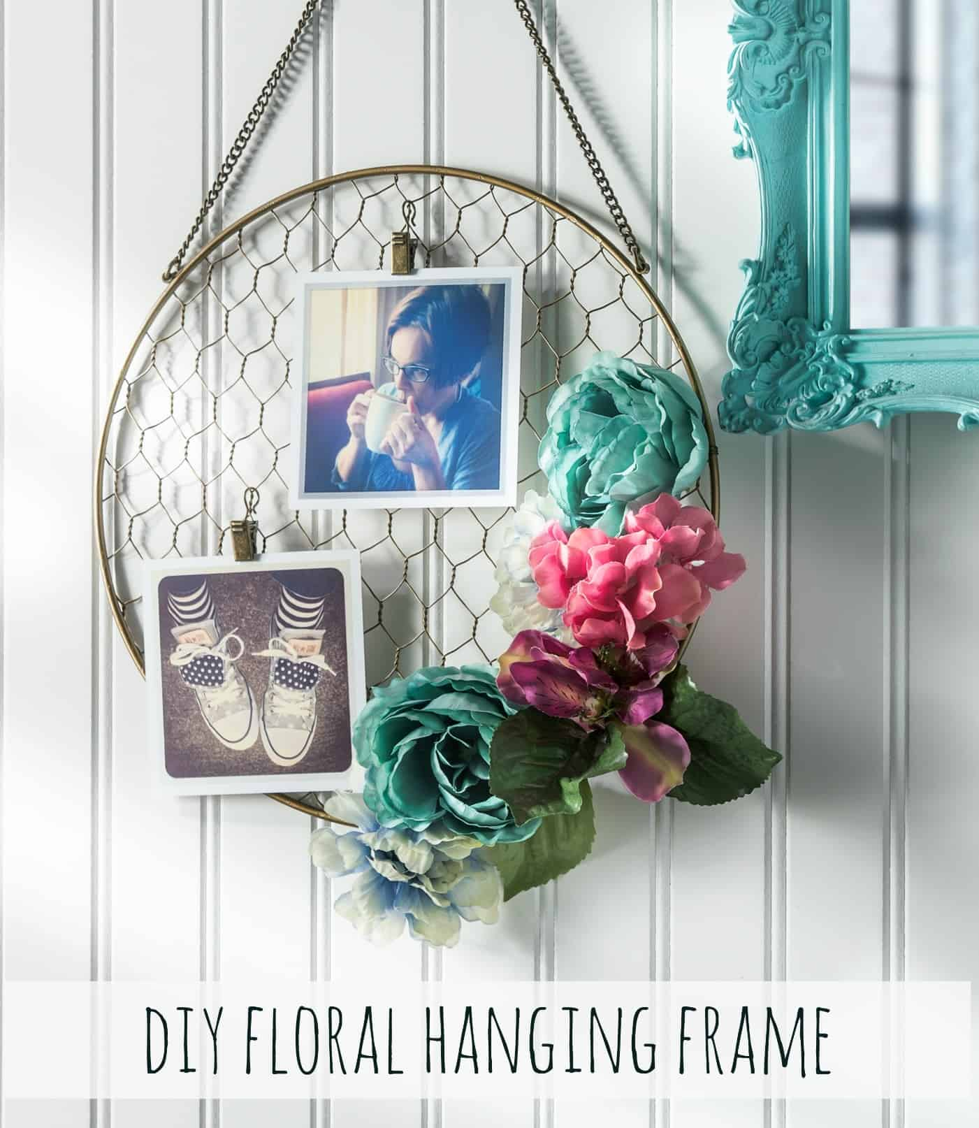 Floral and mesh hoop photo hanging