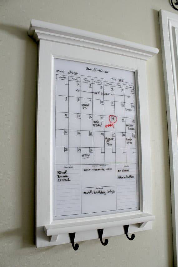 Framed coat hook dry erase calendar