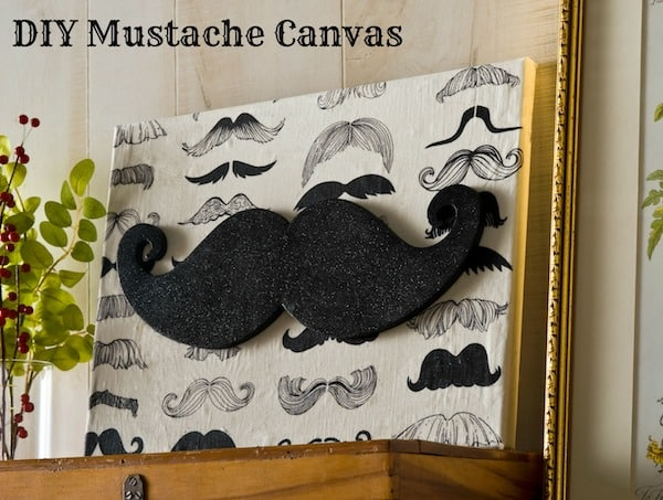 Glitter moustache canvas art