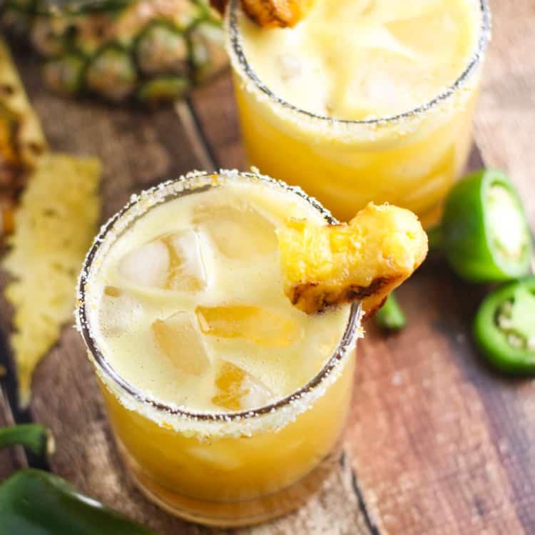 Grilled pineapple jalapeno margarita