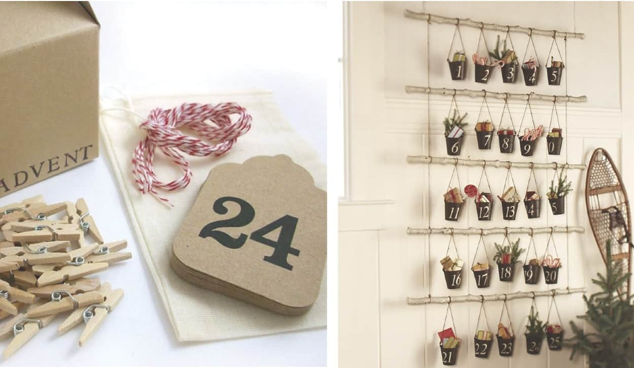 Hanging bucket advent calendar